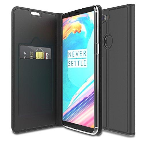 OnePlus 5T Funda Cuero Lujo PU Leather Funda Carcasa Libro Case Flip Stand Support Ranura para Tarjetas Soft TPU Bumper Magnético Protectora Cubierta Smartphone Caso para One Plus 5T Negro