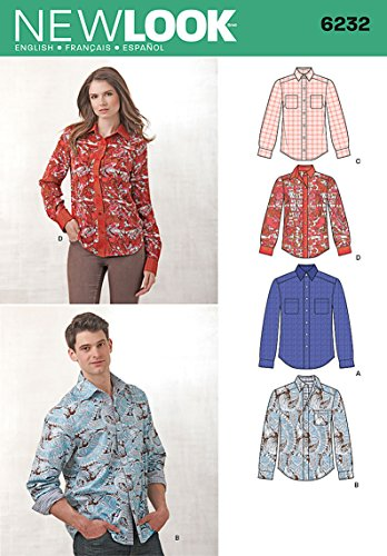 Simplicity Creative Patterns New Look 6232 Misses' and Men's Button Down Shirt, A (8-18/X-Small-X-Large)
