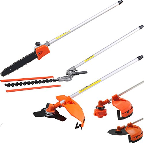 The multiple comes with multiple attachments that are easy to exchange for greater versatility. The complete set includes a weed cutter, chainsaw, hedge trimmer, pruner trimmer, and edger. With the hedge trimmer, you can trim away the tallest hedges and shrubs, whilst the powerful chainsaw will be perfect for cutting thicker branches.