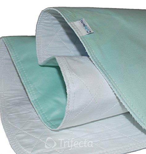 Trifecta Linens 2 Pack - Underpad - Riutilizzabile, Lavare in Lavatrice & Dry, Impermeabile, Super Assorbente per Adulti e Bambini 35' x 80' Verde