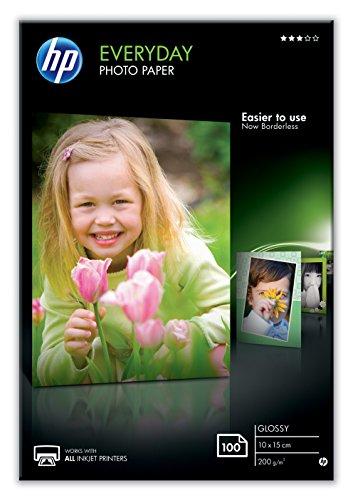 HP Everyday Glossy Photo Paper CR757A, Confezione da 100 Fogli di Carta Fotografica Lucida,...