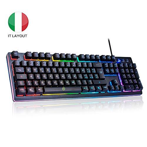 ITALIANA Tastiera Gaming PC RGB USB, Tastiera Semi Meccanica da Giochi per Computer Portatile Laptop...