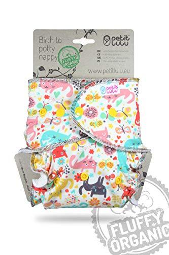 Petit Lulu Pannolino Mutandina Maxi Bambù Fitted Notte   Bottoni   Fluffy Organic   Pannolini di stoffa   Riutilizzabile e lavabile   Pannolini lavabili   Prodotto in Europe (Cat Meadow)