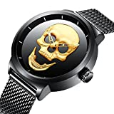 Mens Black Wrist Watches Men Waterproof Mesh Bracelet Large Face Watch Stainless Steel Fashion Luxury Stylish Casual Analogue Quartz Designer Wrist Watch for Menl (black gold / mesh strap)
