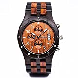 Bewell Date Display Luminous Natural Wooden Watch with Chronograph Function Japanese Movement Wooden Wristwatch for Men (Black and red)