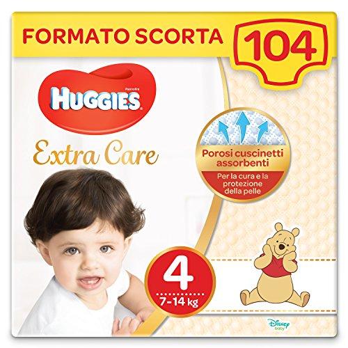 Huggies Pannolini Extra Care, Taglia 4 (7-14 Kg), Confezione da 104 Pannolini