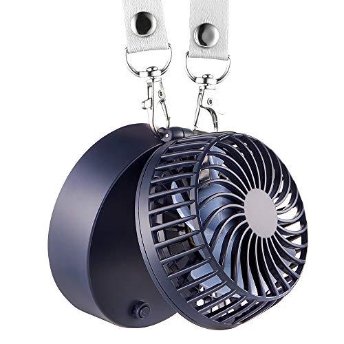EasyAcc Mini Ventilator Halskette Lüfter Handventilator Personal Fan Faltbar mit 6-18 Std. 2600 mAh aufladbarer Batterie 3 einstellbare Geschwindigkeiten für Innen und Reisen Außenbereich - Königsblau