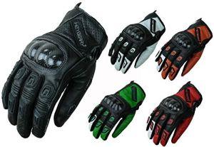 HEYBERRY Motorradhandschuhe Leder Motorrad Handschuhe kurz Schwarz Orange Rot Grün Weiß 3