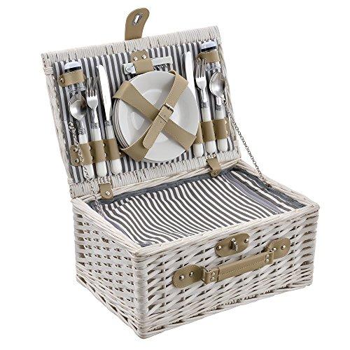 [casa.pro] Picknickkorb für 4 Personen - Picknick-Set mit Kühltasche inkl. Geschirr, Besteck, Korkenzieher und Gläser (weiß)