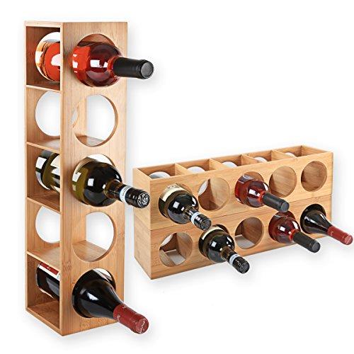 Gräfenstayn 30543 cremagliera del vino CUBE - impilabile in legno di bambù per 5 bottiglie di vino...
