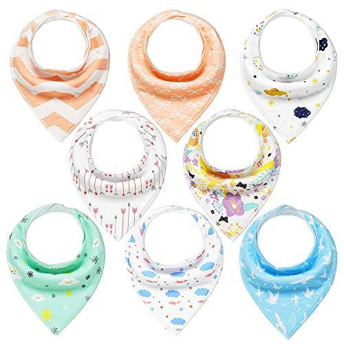 Baby Dreieckstuch 8er Saugfähig Weich Spucktuch Baumwolle Halstücher mit Druckknöpfen für Baby Jungen und Mädchen Kleinkinder YOOFOSS (Mädchen)