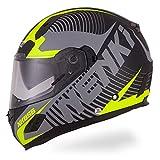 NENKI Casco integrale Moto Motocicletta NK856 con Calotta Esterna in Fibre Composite, omologato ECE, con doppia visiera,Nero Opaco Giallo Fluo,M(57-58CM)