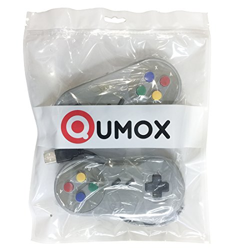 51joxyokV5L - QUMOX 2 x Nintendo Juego de PC Gamepad Controlador SFC Mando de Juego para Super Famicom Windows PC USB