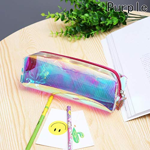 QIangpei, elegante astuccio per matite e cosmetici, olografico, colore metallico purple