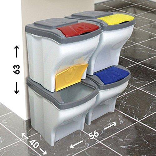 Pattumiera per raccolta differenziata POKER SET 4 pezzi X 20 LT secchio componibile Bama spazzatura