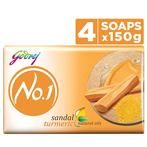 Godrej No.1 Bathing Soap - Sandal & Turmeric, 150g (Pack of 4)