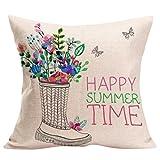 Funda Cojines Logobeing Cojines Decoracion Happy Sunmer Time Fundas de Almohada Sofas Vintage 45X45 (C)