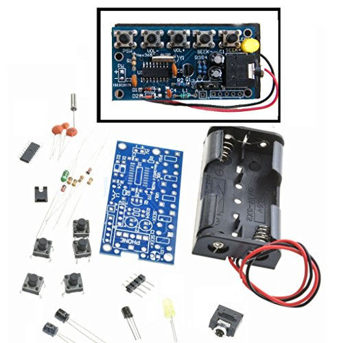 Robocraze 76MHz-108MHz Wireless Stereo FM Radio Kit Audio Receiver PCB FM Module Kits Learning Electronics for Diy 1.8-3.6V DC