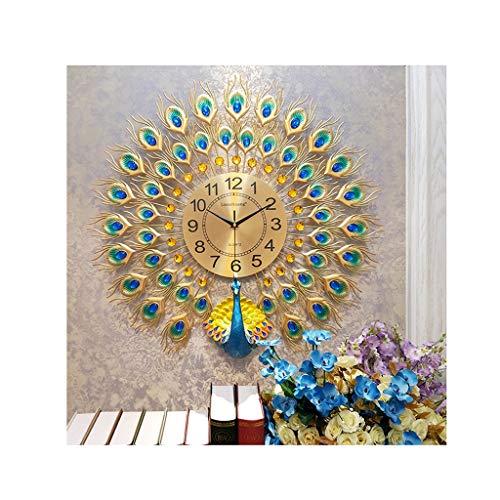 W-JJZS Orologio da Parete Grande Orologio da Camera con Decorazione in Oro E Diamanti Blu Pavone...