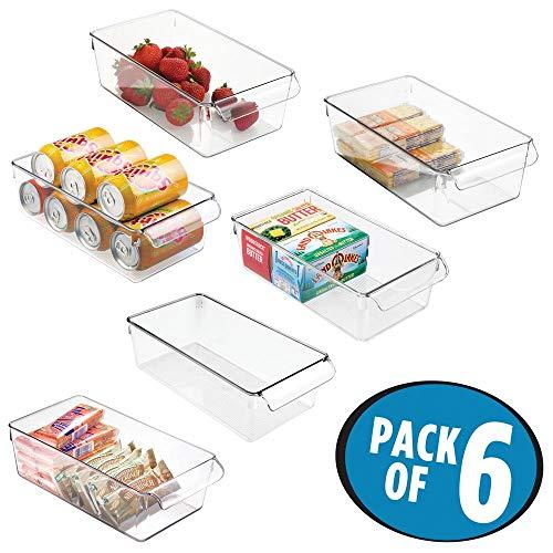 mDesign Set da 6 Contenitori da frigo per alimenti con maniglia (grande) - Scatola da cucina in...