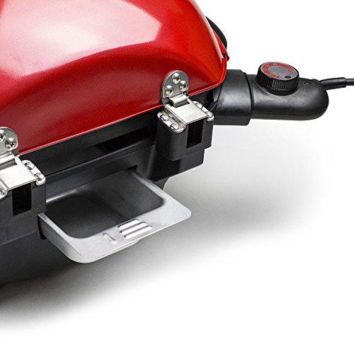 Andrew James Barbecue Électrique avec Réglages de Température et L'Indicateur de Température Intégrée - Convient à l'Usage Intérieur et Extérieur - Bac Récepteur Amovible et Support de Condiment (Rouge)