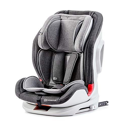 Kinderkraft Seggiolino Auto ONETO3 con Isofix Top Tether Side Protection per Bambini Gruppo I/II/III (9-36 kg) Regolazione Poggiatesta a 10 Livelli Certificato ECE R44/04 Grigio