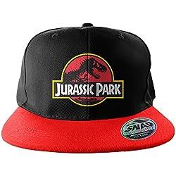 Oficialmente Licenciado Jurassic Park Baseball Casquillo ajustable del Snapback del tamaño (Negro/Rojo)
