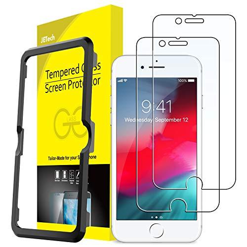 JETech Pellicola Protettiva per iPhone 8 7 6s 6, in Vetro Temperato, con Strumento di Facile Installazione, 2 Pezzi