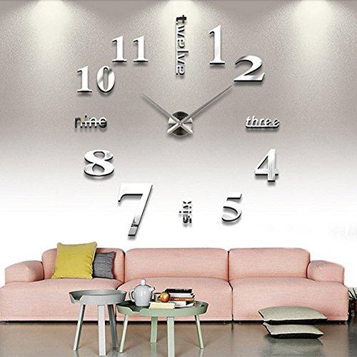 DIY Large Wall Clock 3D Mirror Sticker Big Watch Home Decor Unique Gift