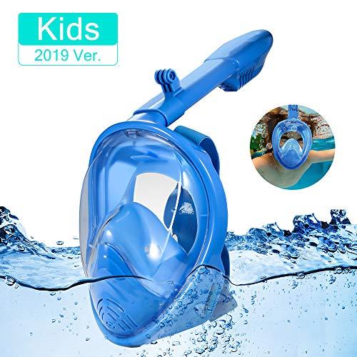 Lalaya Maschera Subacquea 180 ° Vista panoramica, Pieno facciale Design,Anti-Appannamento Anti fuoriuscita con Cinghie Regolabili. con più Snorkeling Tubo per Kid