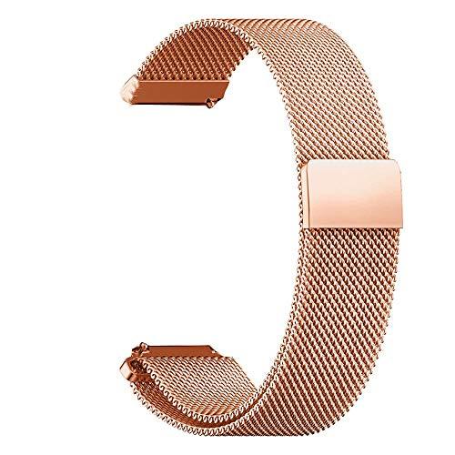 RanGuo Cinturino per orologio da 20 mm, cinturino in rete regolabile in acciaio inox e metallo, cinturino di ricambio con chiusura magnetica unica, cinturino di ricambio per smartwatch