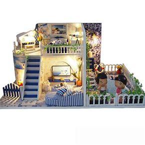 GSC-home Madera casa de muñecas Mini casa Verde con el Modelo de LED Conexión Woodcraft Construction Kit-Madera de construcción Set-Mini casa Manualidades, Regalos for Las Mujeres y niñas
