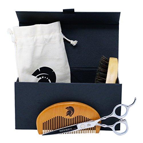 Spartan Beard Co | Kit de toilettage pour barbe | Ciseaux de coiffeur japonais élégants et luxueux en acier inoxydable | Brosse à barbe en poils de sanglier | Peigne à barbe anti-statique |