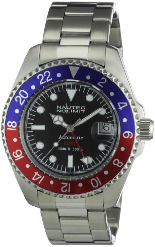 Nautec No Limit Analogico Automatico Orologio da Polso DS AT-GMT/STSTRDBLBK
