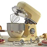 Cooks Professional 800W Electric Kitchen Stand Food Mixer 5L Bowl, 3-in-1 Dough Hook, Whisk & Beater, 12 Month Guarantee (Stainless Steel Bowl, Cream)