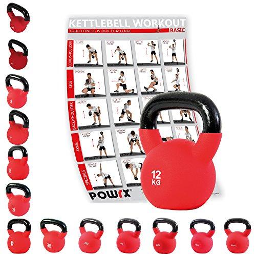 POWRX - Kettlebell ghisa 4 - 30 kg - Rivestimento in neoprene & PDF workout (12 kg)