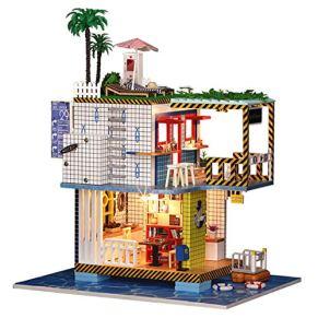 POXL 3D DIY Model with Lights Wooden Miniature House Mini Estación Miniature Kits for Children