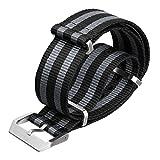 Cinturino stile svizzero NATO, con metallo di alta qualità, Nero/Grigio 5 Strisce di ZULUDIVER®, 20mm