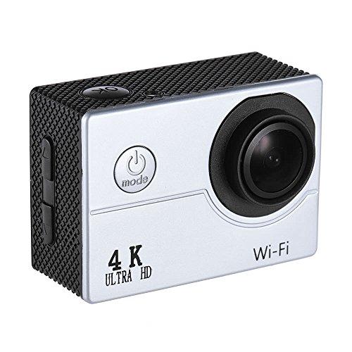 Action Cam 2' LCD 4K V3 30fps Video Sport 16MP WiFi Action Sports Camera e Kit Accessori per Ciclismo Nuoto e Altri Sport E (Colore : Silver)