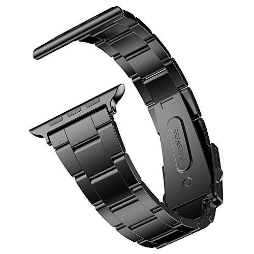JETech Cinturino di Ricambio Compatibile con Apple Watch 38mm e 40mm Series 1 2 3 4 5, Acciaio Inossidabile, Nero