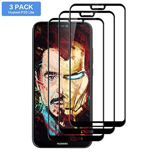 Hanbee Vetro Temperato Huawei P20 Lite [3 Pezzi], Pellicola Protettiva Screen Protector per Huawei P20 Lite [Nessuna Bolla] [Compatibile con Custodia] [3D Copertura]
