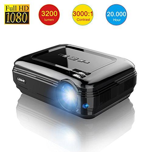 LESHP Proiettore LCD - 3300 Lumen, 1280*800, Contrasto 3000:1 -Video Proiettore Multimediale Home...