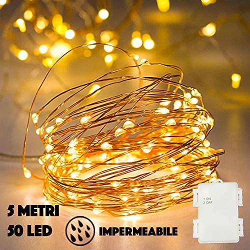 Stringa Luci Led A Batteria JP-LED〖 5M 50 Led〗Catena Luminosa Impermeabile. Filo Luminoso...