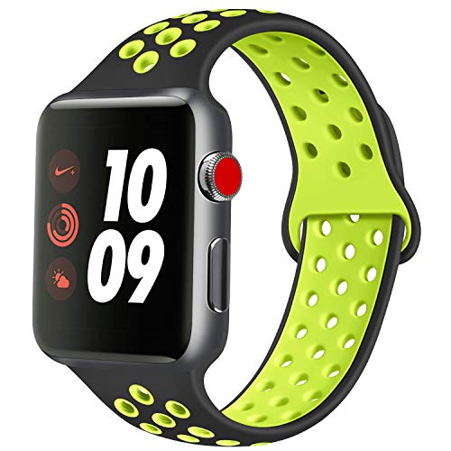 ATUP Compatible con para Apple Watch Correa de 38mm 40mm 42mm 44mm, Correa de Reloj de Repuesto de Silicona Suave Compatible con para iWatch Serie 1/2/3/4 (04 Black&Green, 42mm/44mm-M/L)