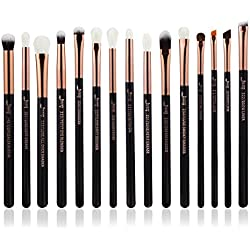 Jessup 15PCS pennelli trucco professionale Set make up Brush Tools kit Eye Liner Shader legno manico natural-synthetic spazzole per capelli perla nero/oro rosa T157
