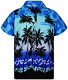 V.H.O. Funky Chemise Hawaienne, Beach, Monoblue, 3XL