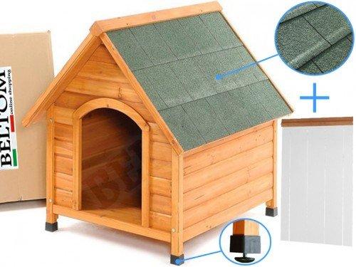 Beltom De Madera Perrera Casa del Perro Refugio Medium/Medio + PVC Carpa/Puerta - Medium