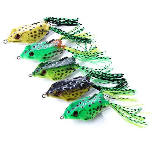 Origlam 5PCS Topwater esche rana, rana Crankbait Tackle, rana esche da pesca morbido esche da pesca, occhi 3D Frog Hollow Body Lure Weedless Swimbait con ganci per Bass Pike
