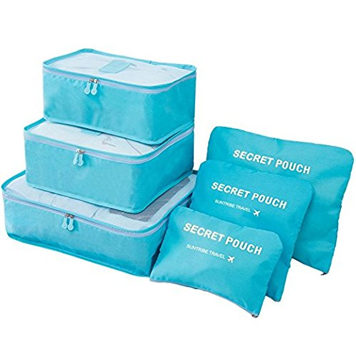 OxbOw® 6 Set Travel Packing Cubes, Luggage Compression Pouches, Multi-Functional Storage Bag, Travel Luggage Organizer, Suitcase Compression Pouches (40 * 30 * 12Cm) (Sky Blue)