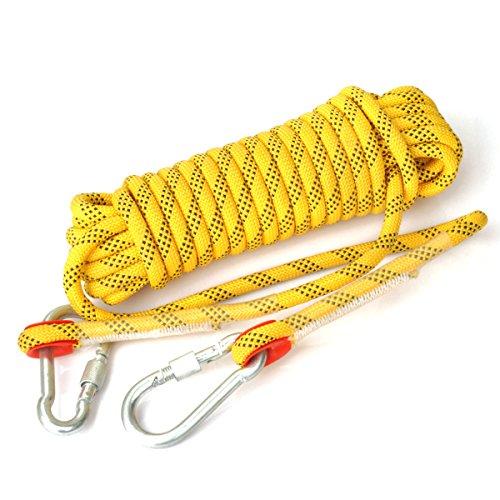Cuerda Eunicorn de 10,5 mm de diámetro y 10 m de largo, con 2 mosquetones, para senderismo, escalada, acampada, rescate, 5 colores disponibles, amarillo